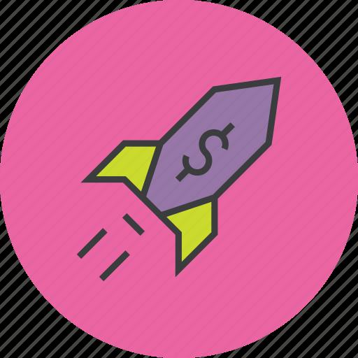 dollar, finance, increase, profit, report, rocket, sales icon