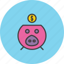 bank, banking, dollar, finance, guardar, piggy, save, savings icon