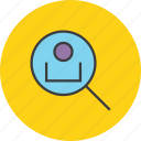customer, employee, locate, profile, search, track, user icon