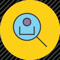 customer, employee, locate, profile, search, track, user icon