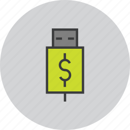 account, banking, charge, dollar, recharge, transfer, usb icon