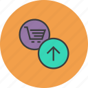 add, add to cart, basket, cart, item, shopping, upload icon
