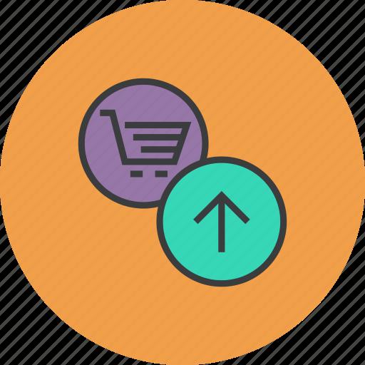 add, add to cart, basket, cart, item, shopping, upload icon