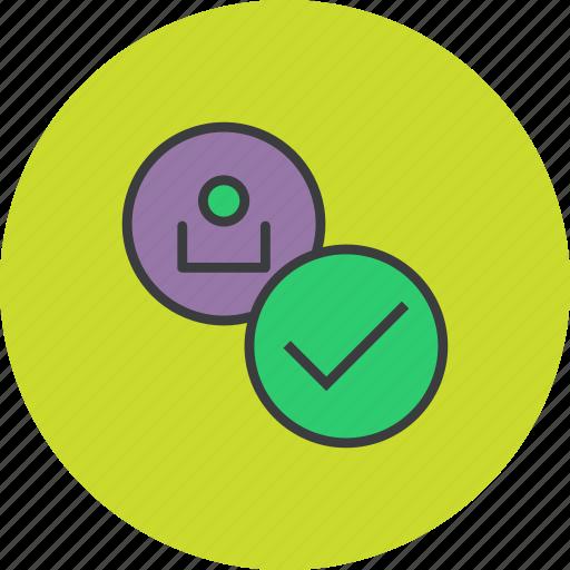 account, check, customer, profile, success, user, verify icon