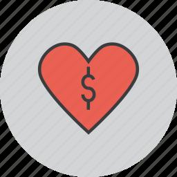 care, charity, dollar, donate, donation, love, trust icon