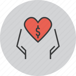 care, charity, dollar, donate, donation, love, trust icon