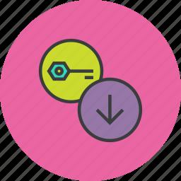 authentication, key, password, receive, recover, retrieve, save icon