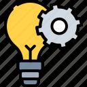bulb, business, cog, idea, innovation, light bulb, solutions