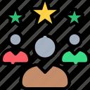 achievement, employee, progress, promotion, ranking, rating, star icon