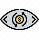 business, control, eye, finance, money, vision, watch icon