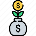 business, cash, coin, growth, money, plant, tree