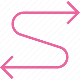 arrow, connected, connection, flow, process, twoway, zig zag icon