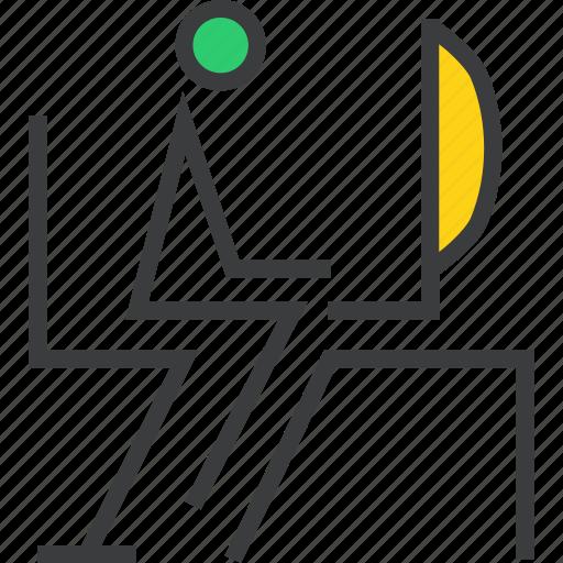 chair, computer, desktop, employee, software, system, work icon