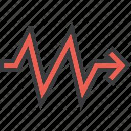 analysis, arrow, direction, report, sales, statistics, trend icon