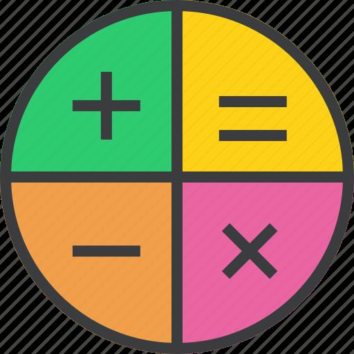 app, calculator, education, finance, math, minus, plus icon