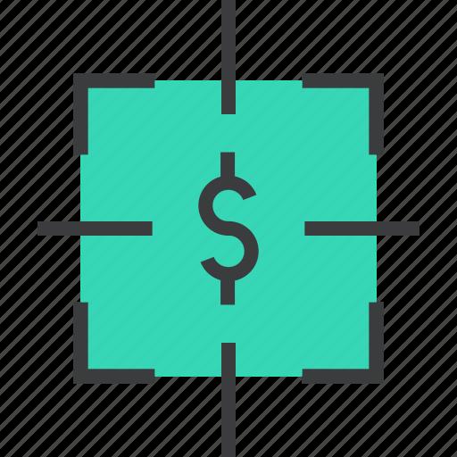 dollar, financial, fix, focus, goal, money, target icon