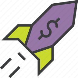 business, dollar, finance, increase, profit, rocket, sales icon