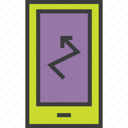 alert, analytics, arrow, banking, mobile, smartphone, statistics icon