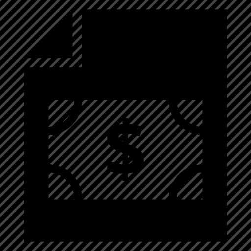 cash, document, extension, file, format, money, report icon
