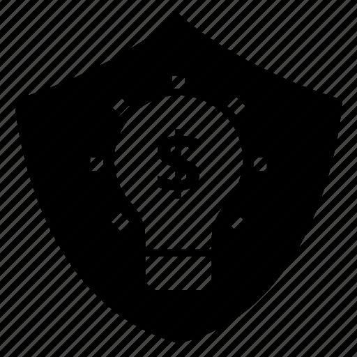 bulb, idea, lock, protection, secure, security, shield icon