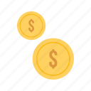 cash, coins, currencies, currency, dollar, monetary resource, money icon