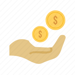 cash, currency, dollar, hand, monetary help, money, yen icon