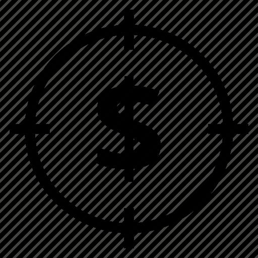 cash, finance, focus, money, payment, target, zoom icon