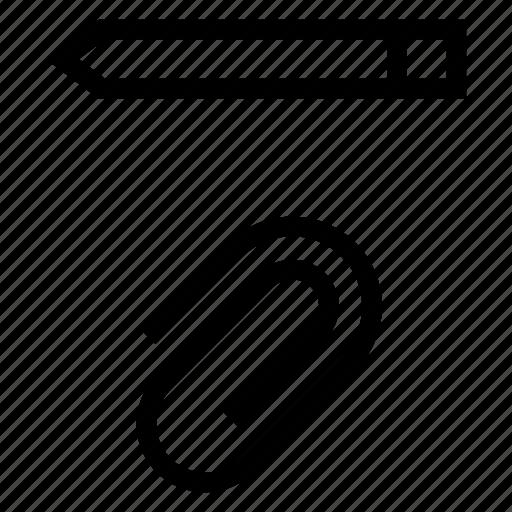 attach, attachment, clip, document, pen, pencil, write icon