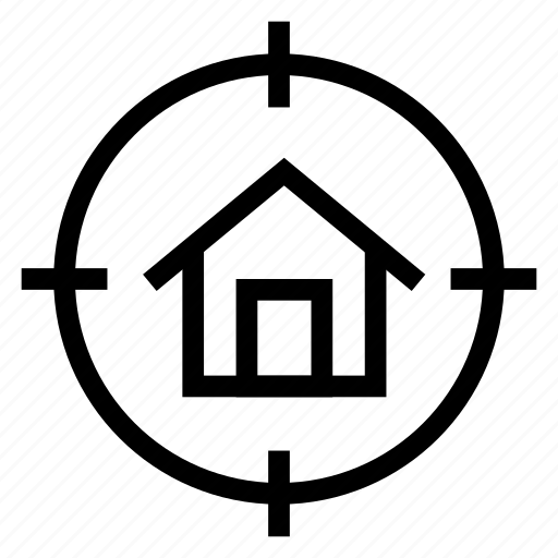building, estate, focus, home, house, real, target icon