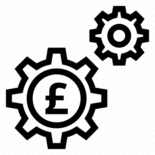 coin, currency, gear, money, options, pound, settings icon