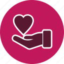 charity, give, heart on hand, voulnteer icon