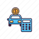 banking, calculator, car, loan icon