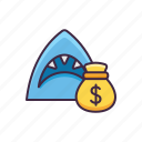 finance, loan, money, shark icon