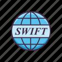 banking, money, swift, world icon