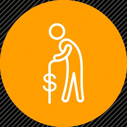 banking, old man, pension icon