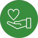 charity, donation, give, heart on hand icon