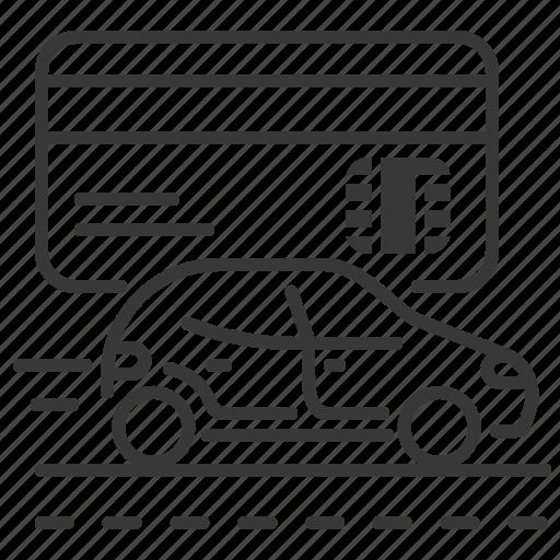 bank card, car, road, vehicle icon