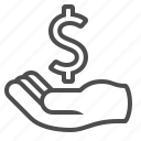 banking, begging, dollar, hand, loan, money icon