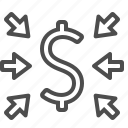 arrows, currency, dollar, finance, money icon