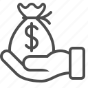 bribe, finance, hand, loan, money bag icon