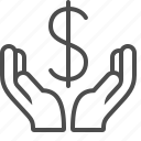 banking, currency, dollar, finance, hands, loan, money icon