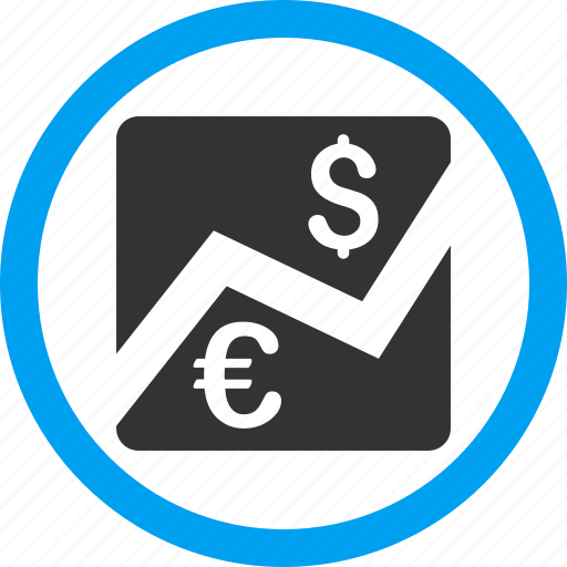 chart, dollar, euro, finance, financial trading, forex market, money trade icon
