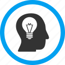 bulb, education, intellect, light, mind, power, think