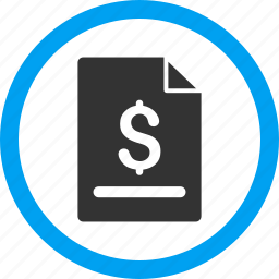 bill, certificate, dollar, invoice page, order, payment, receipt icon