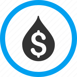 american dollar, business, fuel, liquid, money, oil drop, water price icon