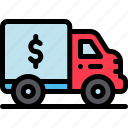 banking, business, finance, money, truck, truck icon icon