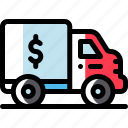 bank, banking, business, finance, money, truck, truck icon icon