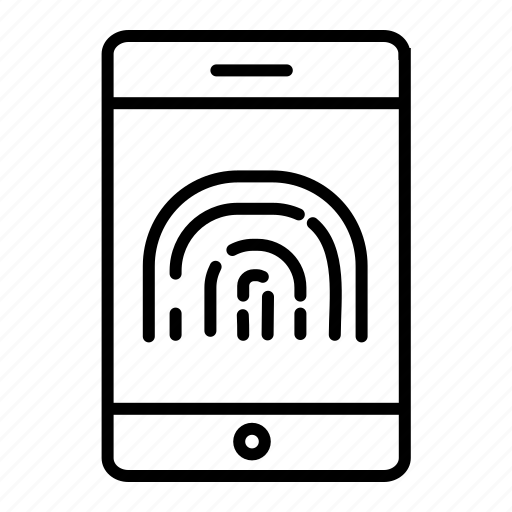 fingerprint protected, mobile banking, secure banking, secure payment, secure transaction icon