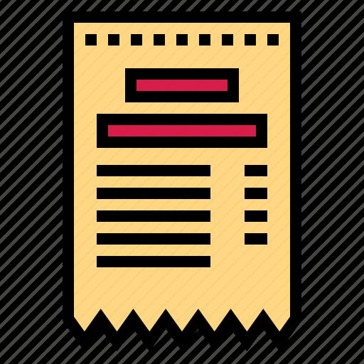 bill, payment, receipt, restaurant icon