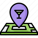 bar, club, location, map, pin, pub, wineglass icon